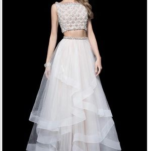 White two piece Jovani couture prom dress